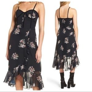 Leith Black Floral Corset Dress with Ruffles